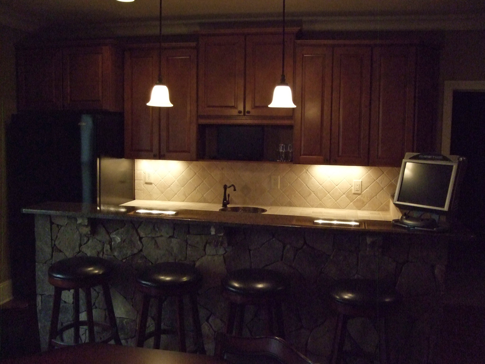 Bar Stone Wall Cabinets Tile Countertop Basement Marietta Atlanta Home Completion