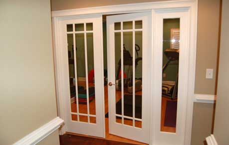 Prairie style doors to a workout room