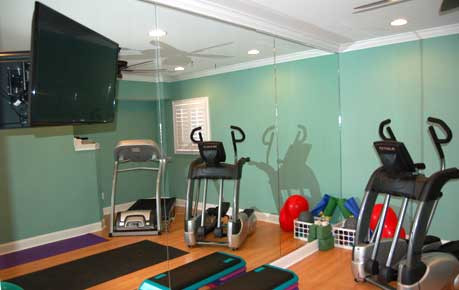 Workout room with mirrored wall